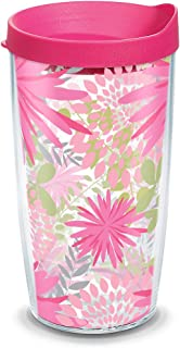 Tervis Pink Mums Insulated Tumbler with Wrap and Fuschia Lid, 16oz, Clear