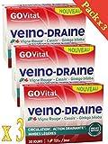 GOVITAL - VEINO-DRAINE - Circulation, action drainante, jambes légères - 3 Mois de...