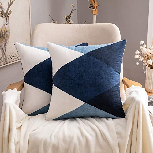 MIULEE Geometric Suedette Cushion Covers Decorative Square Throw Pillow Case Pillowcases for Couch Livingroom Sofa Bed with Invisible Zipper 45cm x 45cm,18x18 Inches,2 Pieces Blue