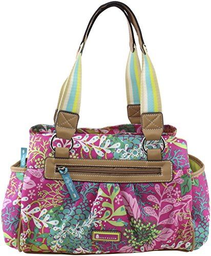 Lily Bloom Landon Triple Section Satchel, Floral Reef Pink