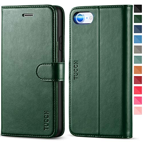 TUCCH iPhone SE 2020 Case, iPhone 8 Wallet Case, iPhone 7 Case, PU Leather Folio Stand Card Slot Magnetic Book Cover [TPU Shockproof Interior Case] Compatible with iPhone SE2/8/7, Midnight Green