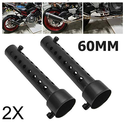 Maso - Silenciador de escape universal para motocicleta (kit de 2unidades de 35 mm, 48mm y 60mm), color negro