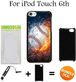 Ice and Fire Powerful Baseball Custom iPod 6/6th Generation Cases-Black-Plastic,Bundle 2in1 Comes with Custom Case/Universal Stylus Pen by innosub