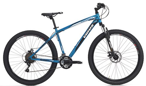 Bicicletta Mountain Bike MTB Uomo 27,5' H45 21V Cicli Cinzia Virus Mechanik Disk Man Hi-Tension 27.5 Azzurra Fluo Opaco