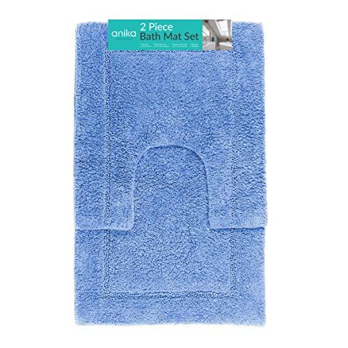 Anika 66549 Badematten-Set, Blau, superweiche Haptik, leicht zu reinigen, schützt Ihren Boden und Ihre Füße, 2-teilig