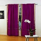 Violet Red 84-inch Rod Pocket Sheer Sari Curtain Panel (India) - Pair