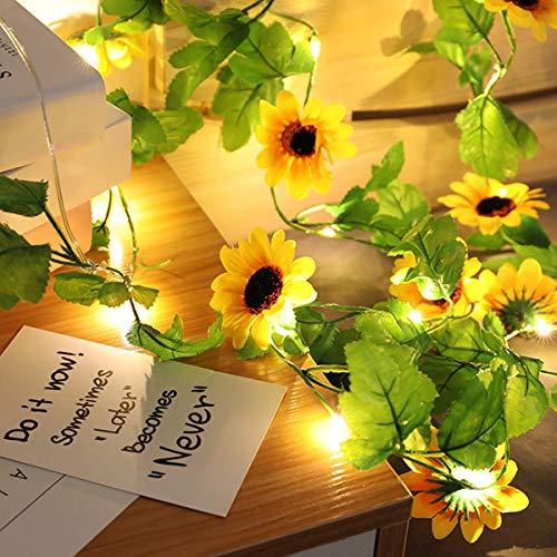 Guirnaldas artificiales de girasol, para decoración de casa de girasol, con pilas, guirnaldas luminosas para decoración de jardín, casa, boda, dormitorio, interior, color blanco cálido