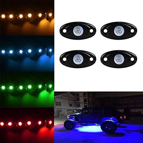 TUINCYN 4 dosettes de Voiture LED RVB Rock lumières kit App Bluetooth contrôle Dessous étanche Trail Rig Neon lumières pour Camion de Voiture Bateau de véhicule