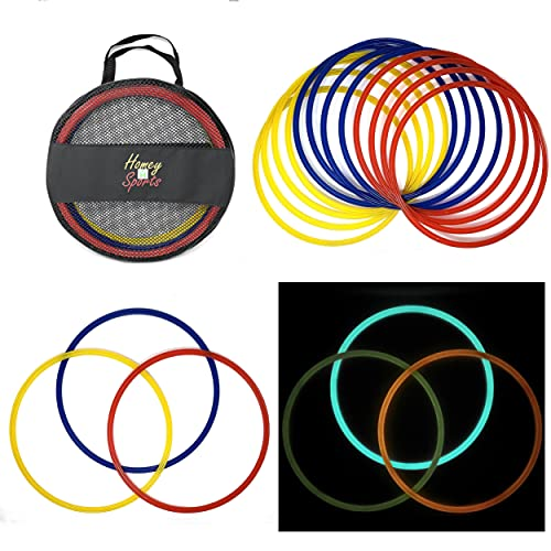 Homey Product Speed and Agility Training Rings | Set of 12 | Strong Sturdy Glow in The Dark 16 inch Sport Hoops with Carry Bag