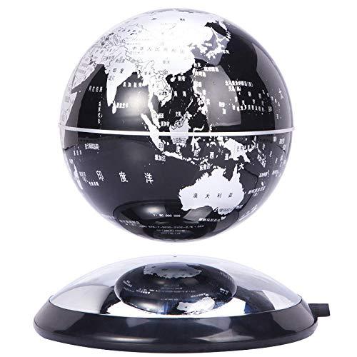 CHOUE 6 Pulgadas Globo Terraqueo Giratorio Negro Mapa Magnetico del Mundo para Adornos de Escritorio
