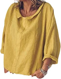 SportsX Womens Solid Color Cozy Lounge Shirt Cotton Linen Blouse Shirt