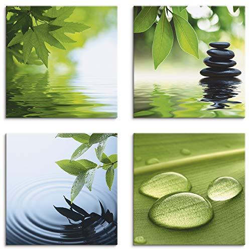 Artland Leinwandbilder auf Holz Wandbild Bild Set 4 teilig je 20x20 cm Quadratisch Wellness Zen Wasser Grün Blätter Stein Pyramide Tropfen S6PI