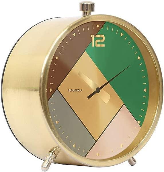 Cloudnola Rubik Metal Alarm Clock Gold 4 3 Inch Diameter Silent Non Ticking Battery Operated Quartz Movement