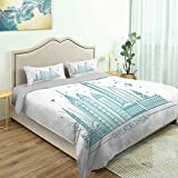 SUPNON Three-Piece Suit Fun Design Bed Set, Philadelphia Skyline, Outline Monochrome Fine Printed Oversize Quilt Set Queen/King Size Bed Cover No51677 - Queen Size