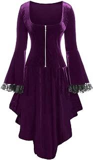 Aniywn Halloween Party Dresses Ladies Loose Flare Long Sleeve Ruffle Hem Lace Patchwork Zipper Mini Dress