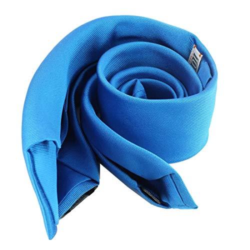 Tony & Paul. Cravate 6 plis. confection main, Soie. Bleu, Uni. Fabriqué en Italie.