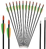 DZGN Tiro con Arco de Fibra de Vidrio Flechas jóvenes 28/26 Pulgadas Target Practice Juego de Tiros Flechas para Niños, Jóvenes Mujer Beginne (Paquete de 12),26inch