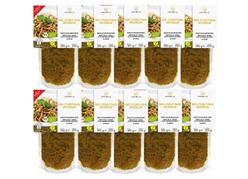 10er Packung | Bio Curcuma Nudeln 250g | Algen Nudeln | Glutenfrei & Vegan | Low Carb | Schultz und König