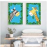 MZDesign Affiche Élégant poésie Kawaii Jungle Animal Dessin animé Moderne Toile Peinture Art Impression Affiche Photo peintures Enfants Chambre Mur déco -40x60cmx2 Pas de Cadre