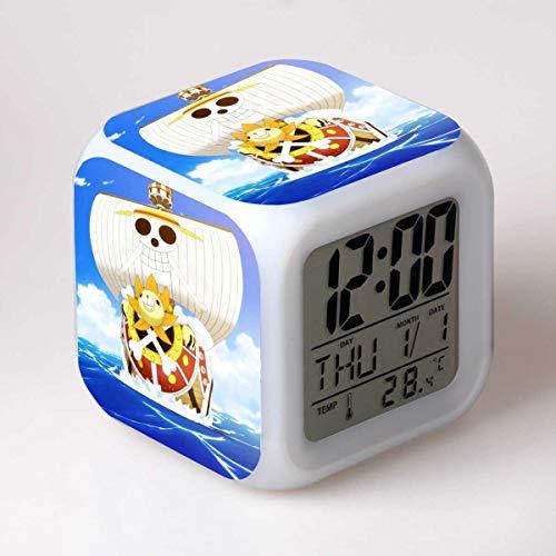 xiaohuhu One Piece Road Flying Qiao Ba navegación Wang Anime LED Siete Colores Creative Mood Alarm Clock Regalos de los niños