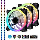 EZDIY-FAB 120mm Addressable RGB LED PWM Fan,with LED Strips, Motherboard Sync,Adjustable Colorful Case Fans with PWM Controller