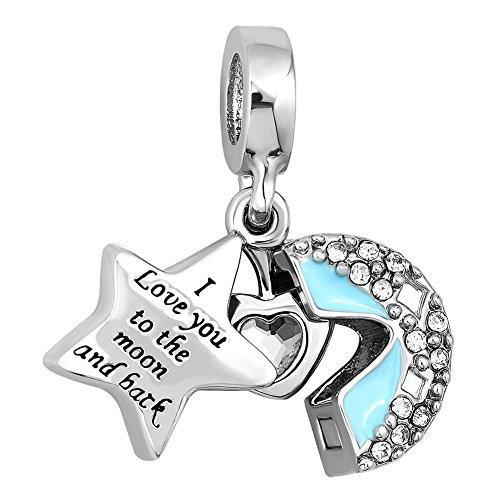 CharmSStory Heart I Love You To The Moon and Back Charm Jewelry Photo Beads For Bracelets (Blue)