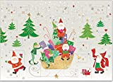 Biglietto con calendario dell'avvento e 24 porticine; bellissimo biglietto di auguri con busta dorata, per il periodo dell'Avvento e per Natale (Babbo Natale e gnomo)