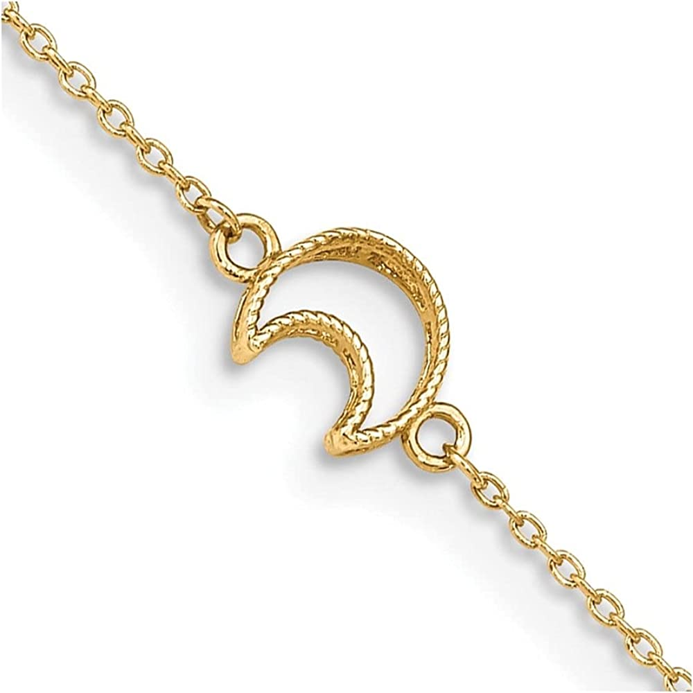 14k Yellow Gold and Moon Anklet 10inch for Women