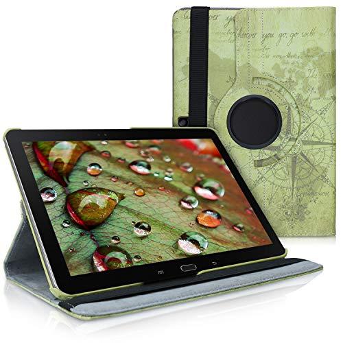 kwmobile Schutzhülle kompatibel mit Samsung Galaxy Note 10.1 2014 Edition - Hülle 360° - Tablet Cover Hülle - Travel Vintage Braun Hellbraun