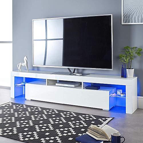 TV Lowboard TV Schrank Moderner LED,großer TV-Schrank, Fernsehschrank, TV-Regal mit LED-Beleuchtung, Lowboard, Wohnzimmer, 140 x 35 x 45 cm, modern, glänzend, weiß