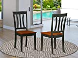 East West Furniture Antique country dining chairs - Wooden Seat and Black Hardwood Frame modern dining room chair Set of 2