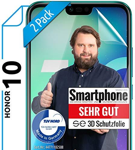 [2 Stück] 3D Schutzfolien kompatibel mit Honor 10 - [Made in Germany - TÜV Nord] – HD Displayschutz-Folie - Hüllenfreundlich – Transparent – kein Schutz-Glas sondern Panzer-Folie TPU - Klar