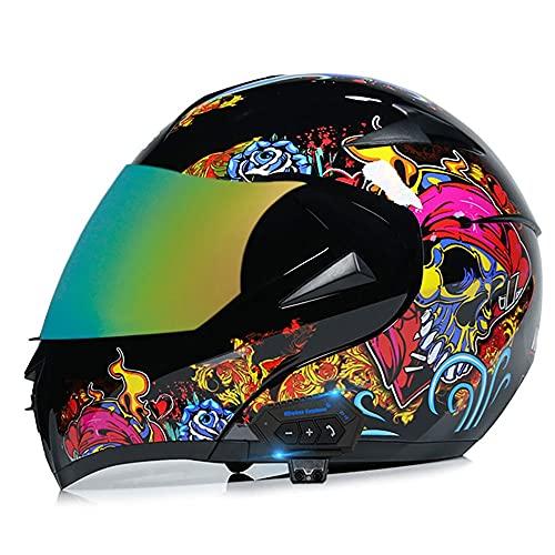BDTOT Casco de Motocicleta Modular Integrado Bluetooth Dot/ECE Homologado Doble Visera Casco Moto Abatible,Unisexo para Motocicleta Bicicleta Scooter Cascos de Moto Modulares