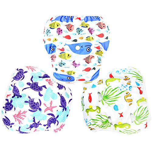 Langsprit 3 Pack Swim Diaper for Baby & Toddle,Reuseable Washable Diaper Swim for Swimming Lesson & Baby Shower Gifts (S, Underwater World)