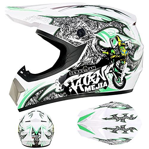 LIALIYA Casco de motocross, casco de moto para adultos, para quad, bicicletas, BMX, ATV, todoterreno, casco de motomotocross, juego de casco de moto para adultos, 3, pequeño