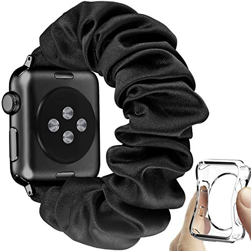 fastgo Compatible with Scrunchie Apple Watch Band Women Gift Elastic Bracelet Strap Stretchy Soft Fabric Replacement for IWatch SE Wristbands Series 6 5 4 3 2 1(Black+Black Connector, 42mm/44mm)