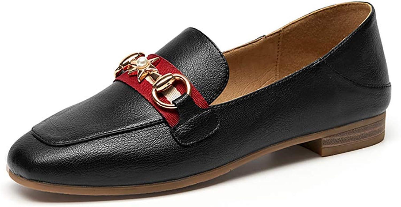 Autumn Single shoes British Style Small Leather shoes Female Flat shoes Peas shoes Beige Black Light Tan