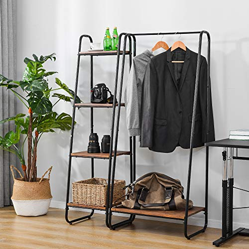 BHSHUXI Metal Garment Rack with Shelves,Freestanding Closet Organizer Heavy Duty Clothing Rack with 5 Wood Storage Shelves and Hanging Bar,For Bedroom Living Room Entryway