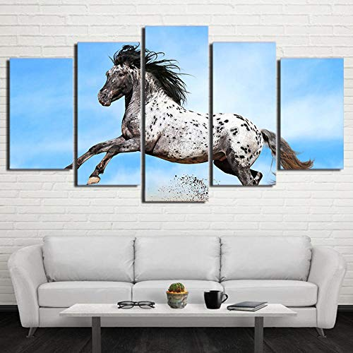rkmaster Leinwandbild Abstrakt Rahmen Malerei Wandkunst Tier Pferd 5 Poster Modular Bild für Raum Wohnlandschaft Dekoration Tierlandschaft Vlies
