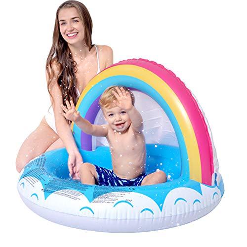 LYXCM Shade Baby Pool, (40.16 * 40.16 * 31.50In) Hochwertiger Aufblasbarer Pool Mit Überdachter Regenbogen-Babybadewanne