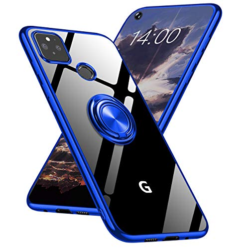 Google Pixel 4A 5G Case Clear Slim Fit with Ring Stand Holder Kickstand Soft Flexible TPU Silicone CoverElectroplated Edge Shockproof Crystal Clear Case for Pixel 4A 5G Blue (2020,6.2inch) -  HOOYEELUN