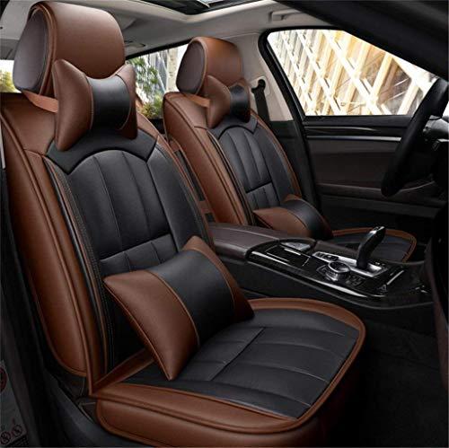 ZGYQGOO Vollleder-Autositzbezug - Four Seasons Universal-Allroundkissen, Hochwertiges Fünfsitz-Universalkissen (Farbe: Kaffee)