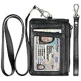 Teskyer Minimalist Wallet, Slim Wallet with Neck Lanyard and Wrist Strap, Credit Card Holder Wallet, RFID Blocking Front Pocket Wallet for Men Women, Black
