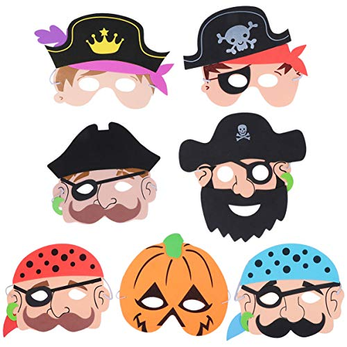 NUOBESTY 7 Stks Halloween Maskers Piraat en Pompoen Kids Masker Verkleedkostuums Trick Or Treat Foto Props Feestartikelen Benodigdheden