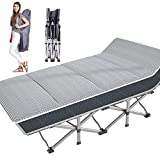 NAIZEA Folding Camping Cot, Double Layer Oxford Strong Heavy Duty Wide Sleeping Cots with Carry Bag,...