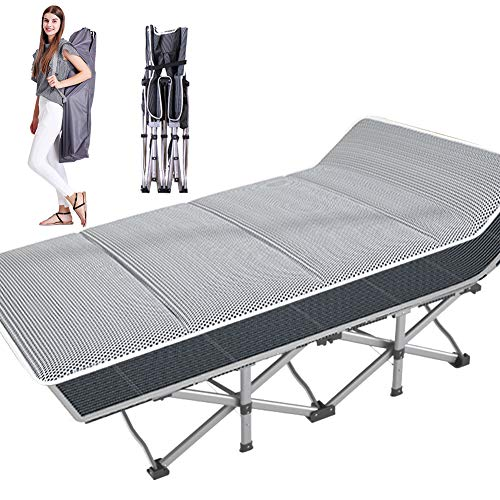 NAIZEA Folding Camping Cot, Double Layer Oxford Strong Heavy Duty Wide Sleeping Cots with Carry Bag, Portable Travel Camp CotsFoldable Bed Military Cot for Indoor & Outdoor (4D Air Pad)