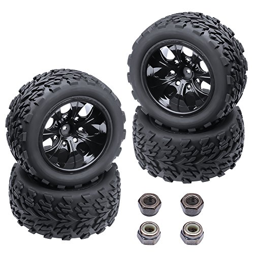 Hobbypark 4PCS 12mm Hub Wheels and Tires Set 1:10 Off Road RC Car Monster Truck Tyre Foam Inserts