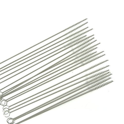 Honbay Straw Cleaner Brushes, nylon bristles stainless steel handle, Nylon Skinny Pipe Tube Cleaner - 20 Piece Value Pack - 6 mm bristles x 7 175mm long