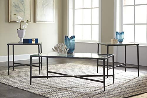 Signature Design by Ashley – Exeter Glass Top 3-Piece Occasional Table Set, Black Finish