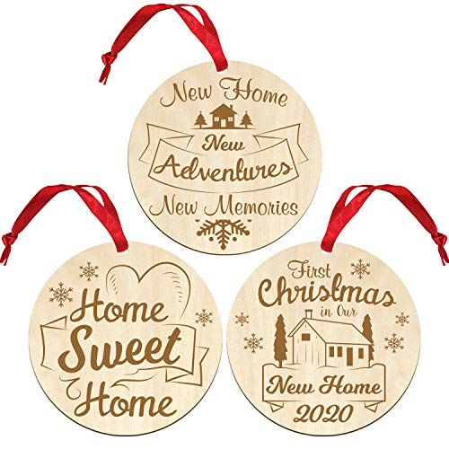 uwows Set of 3 First Christmas in New Home Ornament 2020,Our First Home Ornament 2020,Our Sweet Home Christmas decoration New Home Gifts for Home New House Gifts for Newlyweds